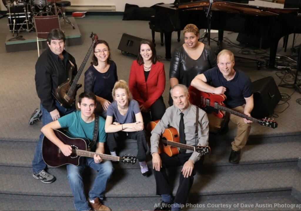Group photograph of members of the worship team.